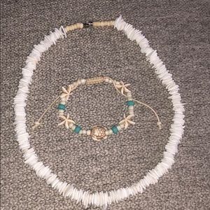 Shell necklace and turtle bracelet